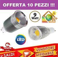 10 PZ. FARO FARETTO LED 9W SPOTLIGHT COB INCASSO LAMPADINA SMD LUCE FREDDA SPOT