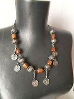 Vintage Old Bakelite Silver Yemenite Necklace Filigree Ball Beads