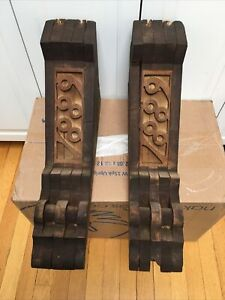 Pair 1889 Antique Victorian Wood Corbels House Brackets