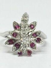Vintage 14k White Gold Diamond Ruby Ring