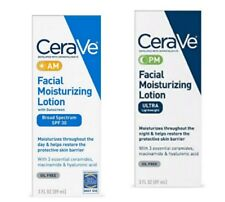 CeraVe Day & Night Face Lotion Skin Care Set /Contains AM & PM Face Moisturizer.