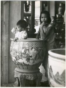 Photo Argentique Enfants Indochine Asie Siam Vers 1970
