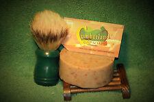 all natural Goatmilk/oatmeal bentonite shaving soap Lemon E O Last to be made