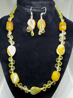 Yellow CZ, Agate Necklace & Triple Dangle Earrings Sterling Jewelry Set Handmade
