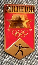 Fencing Olympic Pin Badge~Pictogram ~ Sponsor~Michelob ~ 1984 Los Angeles~La