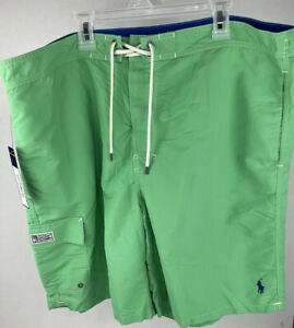 NWT $59 Polo Ralph Lauren Green Lined Swim Trunks Shorts XXL With Pockets