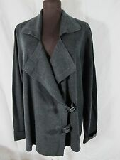 ISDA & Co Black Charcoal Silk Cotton Cashmere Nylon Knit FALL LUXE Jacket 2X NWT