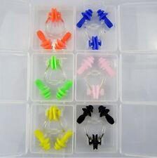 Waterproof Soft Silicone Swimming Nose Clip Ear Plug Set In Case Multicolor