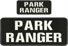 PARK RANGER EMBROIDERY PATCH 4X10 AND 2X5 hook on back blk/white