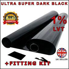 ULTRA SUPER DARK BLACK 1% 6M x75CM 2 x ROLL 3M CAR WINDOW TINT FILM TINTING