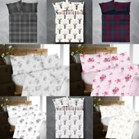 Check Floral & Stag Pattern Flannel 100% Brushed Cotton Fitted & Flat Sheet Sets