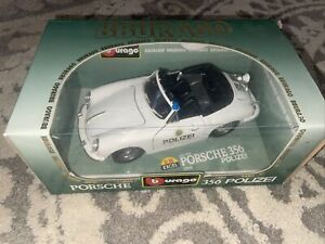 🔴 Burago 1/18 Scale Diecast 3331 Porsche 356 Cabriolet 1964 Polizei Model Car