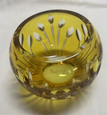 Faberge Votive Candle Holder Yellow Cut To Clear Crystal