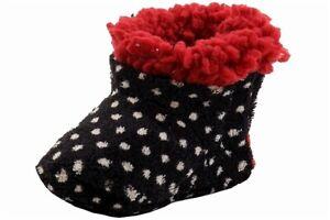Skidders Infant Girls Fashion Polka White Plush Booties Shoes Sz. 0-6 Months