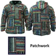 Men's Cotton Outstiched Hippie Hoodie Full Sleeves Patchwork Festival Jacket
