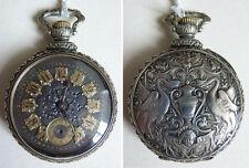 Ancienne montre gousset  poche Argentan style renaissance Cygne ange fonctionne