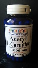 Acetyl L-Carnitine 1000 mg Energy Chronic Fatigue Focus 200 caps 3 Month Supply