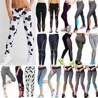 Femme Yoga Fitness Legging de Course Sport Gym Taille Haute Pantalon Extensible