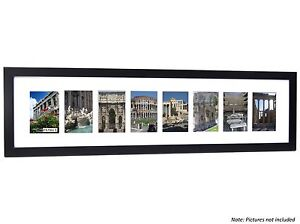 CPF - 7 Opening Black Picture Frame w/Glass to holds 4x6 Photos w/ 10x36 mat