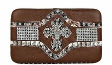 Womens Brown Studded Cross Leatherette Checkbook Wallet