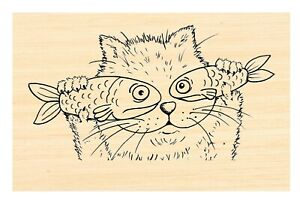 P121 Cat with fish rubber stamp-Larger