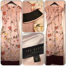 Ted Baker Botanical Bloom Pink Floral Long Dress Size 3
