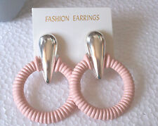 Big Peach Ridged Hoop Clip on Earrings