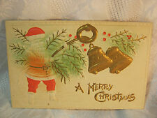 ANTIQUE 1910 A MERRY CHRISTMAS SANTA HEAVY EMBOSSED POSTCARD