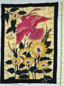 Beautiful Vintage Batik - Flying Pink Bird from Sri Lanka Signed Henry 85 x 61cm