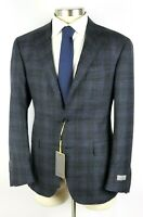 $1695 Canali 1934 Kei Jacket Dark Blue Check Wool Unstructured Coat 44 R fits 42