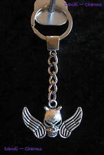Skull with Horns & Wings -Strong Metal Keyring~1 Tibetan Silver Charm*Gift Idea*