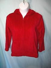 Solid Red Plush Velour Long Sleeve Polyester Hoodie Jacket Size L  Soft and Cozy