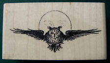 "P5 Owl and Moon rubber stamp-retro art 2.5x1""WM"