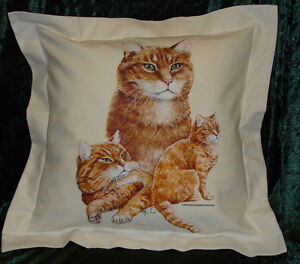 Hand Crafted Orange Tabby Cats cushion cover