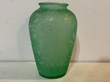 Vintage Green Acid Etched Glass Vase w/ Scrolling & Floral Decoration