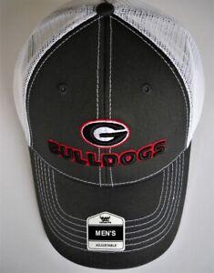 GEORGIA BULLDOGS ADULT SNAPBACK CAP HAT WITH G LOGO, NICKNAME & TRUCKER MESHBACK