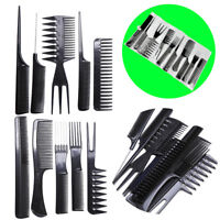 10 piece Hair Styling Comb Set Professional Black Hairdressing Brush Barbers