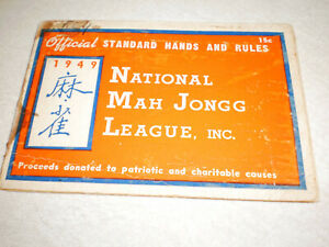 1949 MAHJONG NATIONAL MAH JONGG LEAGUE OFFICIAL HANDS RULES CARD USED STAINED