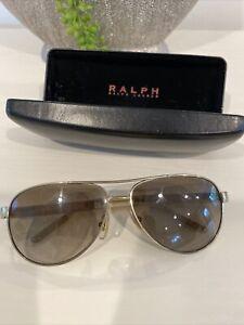 Ralph by Ralph Lauren Gold and Cream Aviator Sunglasses RA 4004 101-13 USED
