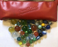 Vintage Agate Corkscrew Marbles Lot Spirals  Stone Glass W/ Pencil Case Blown