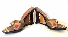 Casadei Fabric Open Toe with Lucite Wedges Shoes Size 6.5 - EUC