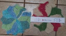 "HAND KNITTED Cotton 12"" SNOW FLAKE Dish Cloths Towel PERFECT CHRISTMAS GIFT USA"