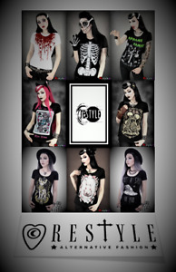 Restyle Red Blood / Skull Halloween Print T Shirt Tops for Gothic Punk Emo Women