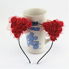 Red Cat Ears Flower Headband Cosplay Costume Halloween Orecchiette Hairband