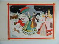 Gravure ancienne coloriée au pochoir signé G. Hébraud scène d'hiver sous neige