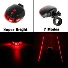 5 LED Rear Bicycle Tail Light Beam Safety Warning Red Lamp Cycling Bike 2X Laser