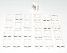 LEGO LOT OF 25 WHITE 1 X 2 X 2 FIXED GLASS WINDOWS TOWN HOUSE CITY PARTS