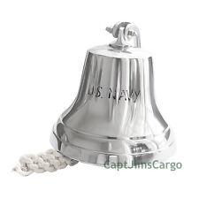 "Aluminum US Navy Ship's Bell 6"" Chrome Finish Nautical Doorbell Wall Decor"