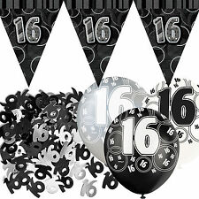 Black Silver Sparkle 16th Birthday Flag Banner Party Decoration Pack Kit Set
