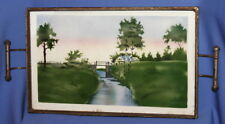 Vintage Czechoslovakian Porcelain Serving Tray With Metal Facing Landscape